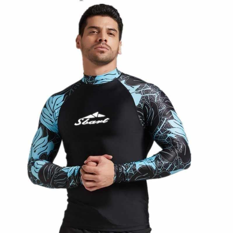 2020 erkekler Rashguard rüzgar sörfü likra döküntü Guard sörf gömlek uzun kollu mayo UV geçirmez su spor T Shirt yelken dalış giysisi