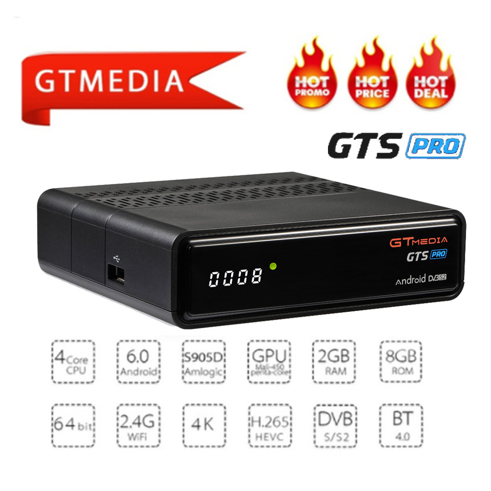 GTS GTmedia PRO Android 6.0 CAIXA de TV IPTV + DVB-S/S2 CAIXA Smart TV Wi-fi Embutido HD 4 K controle remoto Receptor de Satélite Set Top Box