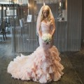 Gorgeous Pink Wedding Dresses Sweetheart Pleat Beaded Waist Ruffles Skirt Wedding Gowns Mermaid vestido de noiva vintage S387