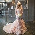 Hermosa Rosa Vestidos de Boda Del Plisado Del Amor Rebordeó Cintura Falda de Las Colmenas de La Boda Vestidos de Sirena vestido de noiva vintage S387