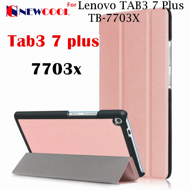 Newcool Case cover For Lenovo TAB3 Tab 3 7 Plus 7703 7703x TB-7703X TB-7703F 7.0 tablet Case 3-Fold PU Leather Case Flip Cover ultra thin smart flip pu leather cover for lenovo tab 2 a10 30 70f x30f x30m 10 1 tablet case screen protector stylus pen