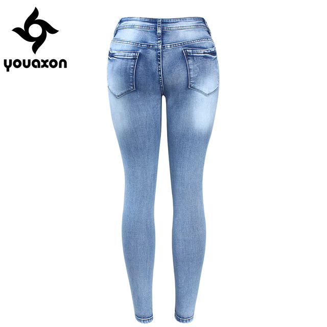 Classic Distressed Women Mid Waist Stretchy Ripped True Pants Skinny Pencil Elegant Denim Jeans