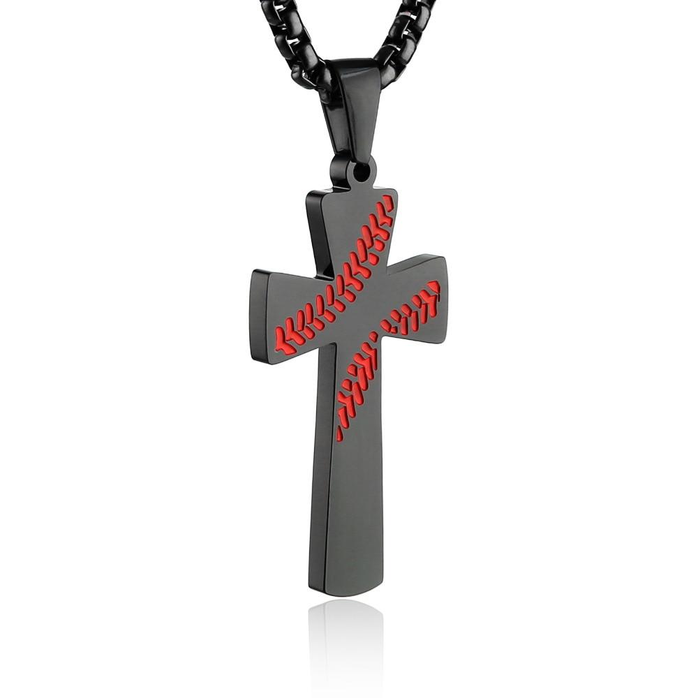 """HZMAN Baseball Kreuz Anhänger, ICH TUN KÖNNEN Alle Dinge Festigkeit Bibel Vers Edelstahl Halskette 24 """"Kette"""