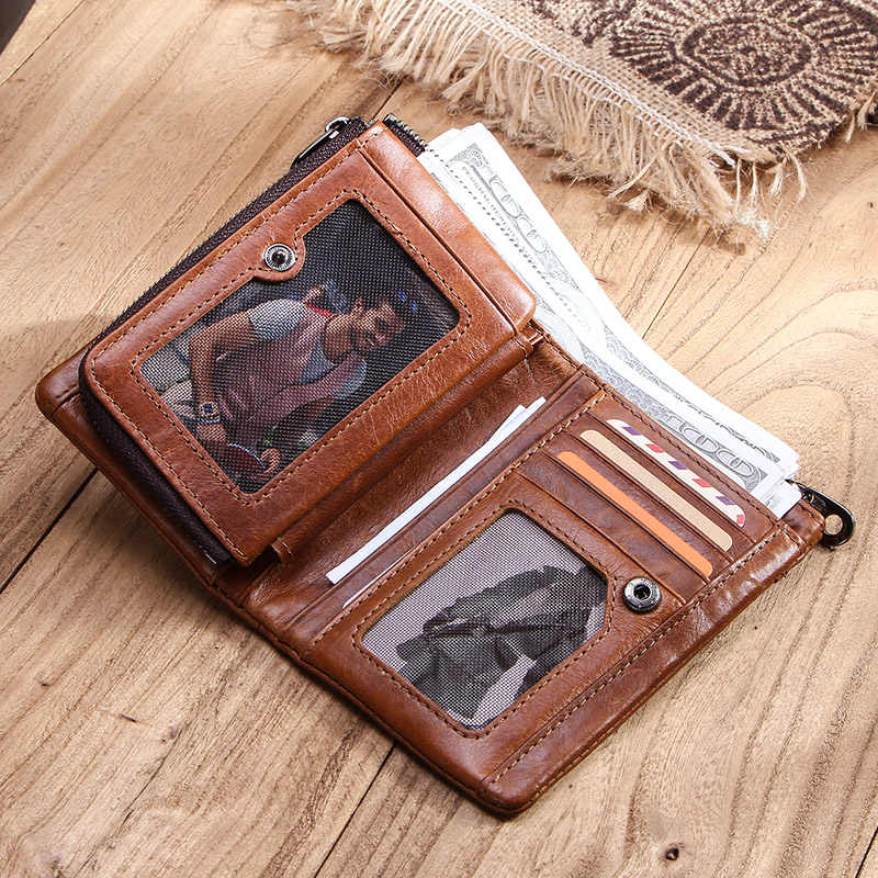 CONTACT'S Мужской высококачественный  бумажник из натуральной кожи, в винтажном стиле  с отделениями для карт и денег мужские короткие кошельки 2019