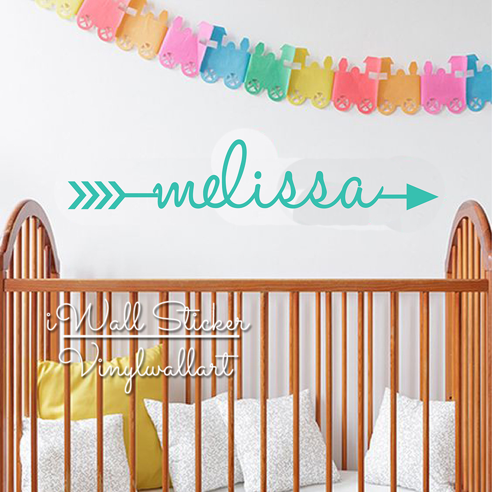 Arrow Name Wall Sticker Baby Nursery Decal Kids Room Cut Vinyl Stickers Personalized Children C67