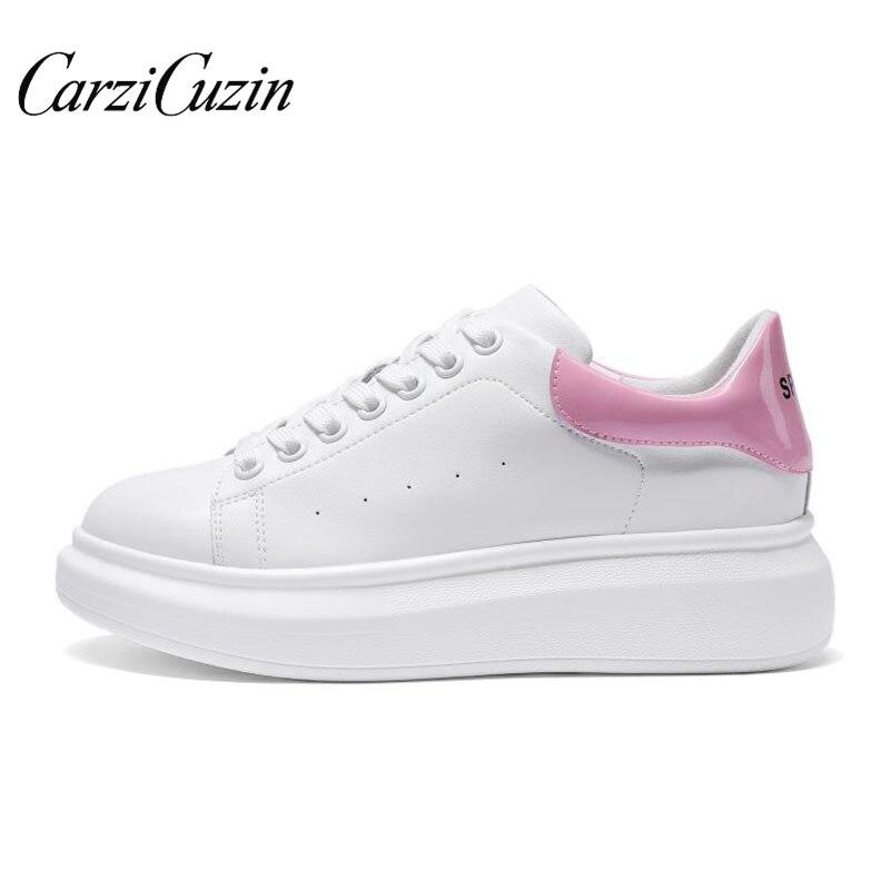 Carzicuzin printemps femmes chaussures décontractées en cuir véritable plate-forme chaussures femmes baskets dames blanc formateurs Chaussure Femme taille 35-39