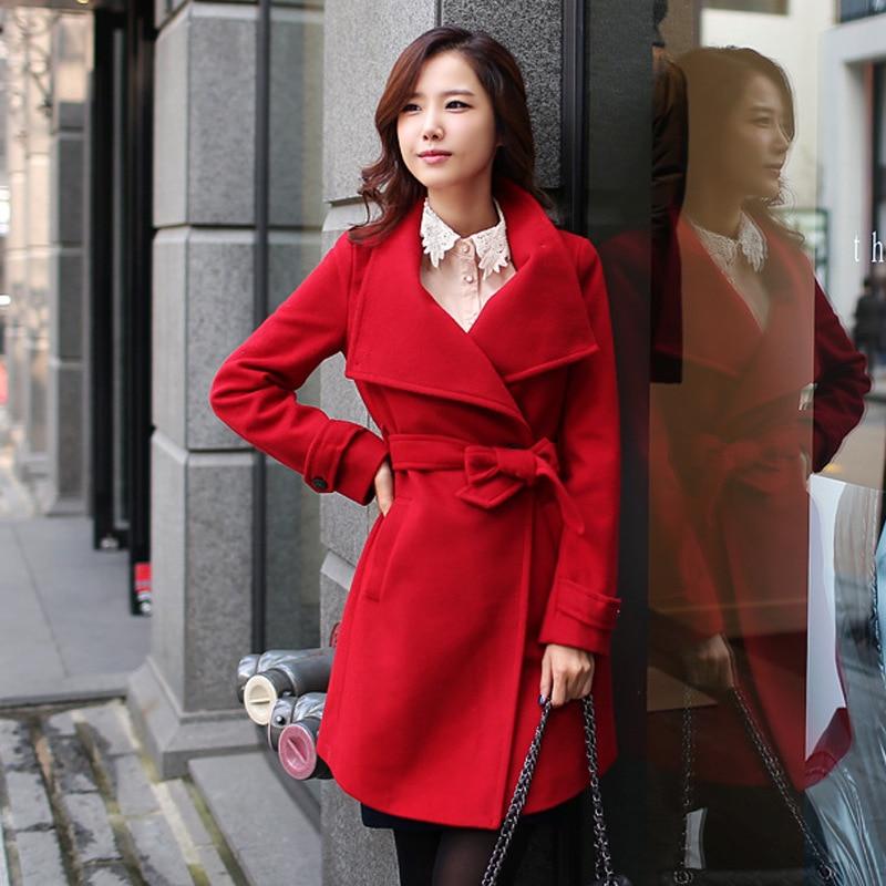 Black Women Wool Winter Elegant Coat Womens Overcoat Coats red Slim Cashmere Fashion Black Warm Qmgood Long Korean Female Red Jacket FvwXUq5