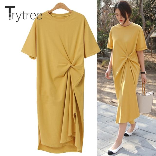 Trytree Autumn Dress Women Casual Solid Dress Short Sleeve shirt Geen Yellow Straight Dress 2018 Mid-Calf Dress