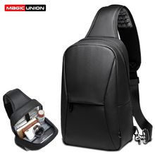 MAGIC UNION Men Cool Chest Bag Anti-thief Crossbody Bags Business Pack Fit 9.7 inch iPad Waterproof Patchwork Shoulder