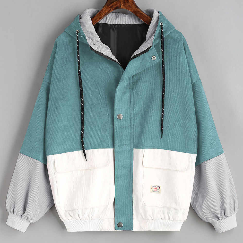 Telotuny women clothing Corduroy Patchwork Oversize Windbreaker female coat bomber jacket women plus size jacket women JL 18