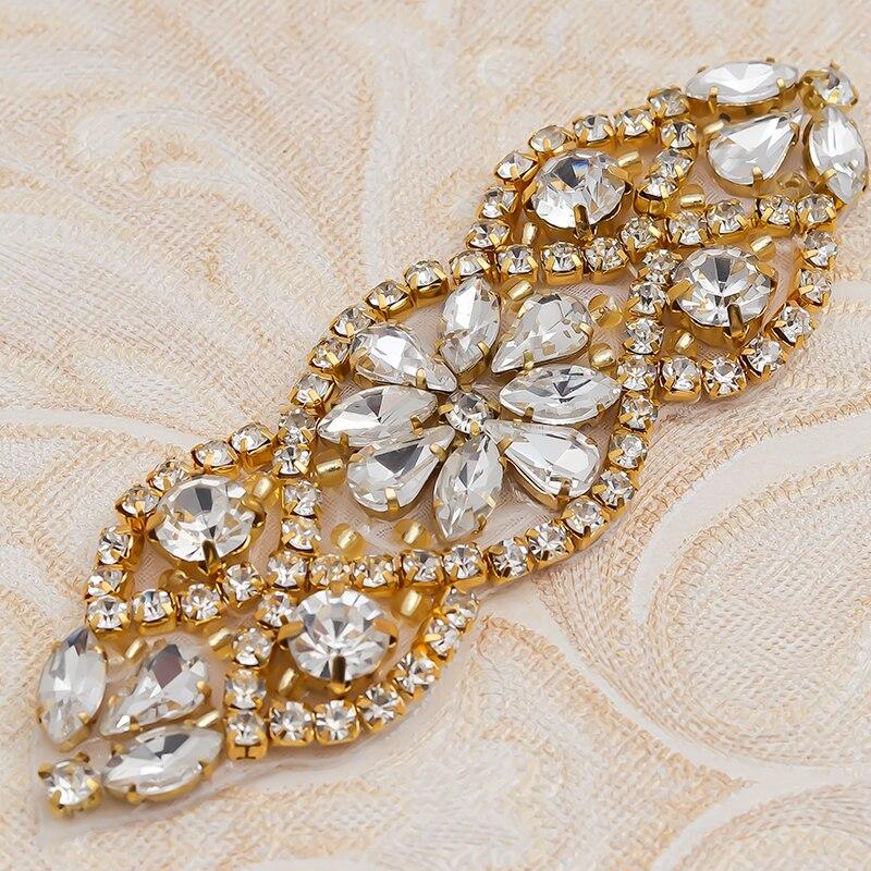 YANSTAR 50pcs Wholesale Wedding Dress Sash Rhinestones Appliques Accessory For Bridal Gown Belt YS853