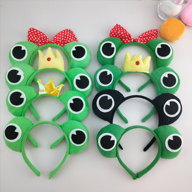 Children Boy Girl Animal Green Frog Headband Hairband Kids Performance Cosplay Hair Accessories Costume Party Headwear