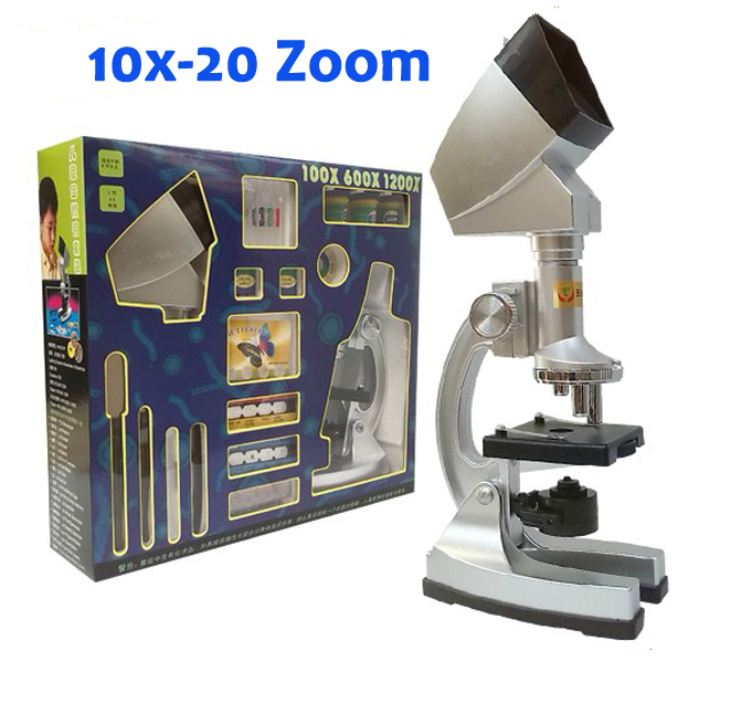 10X 20X Zoom Illuminated Educational Children Toy Kids 1200X Student Microscope with Projector & Light Lamp Preapred Specimen