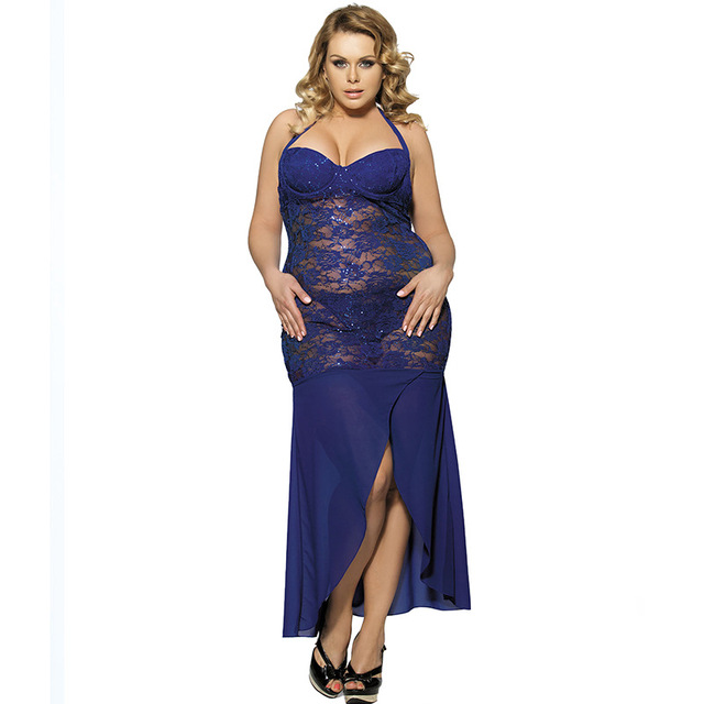 4f7f033469b7 Women Plus Size M-5XL 2 Colors Mesh Sheer Night Dressing Gown Sexy Long  Nightgown