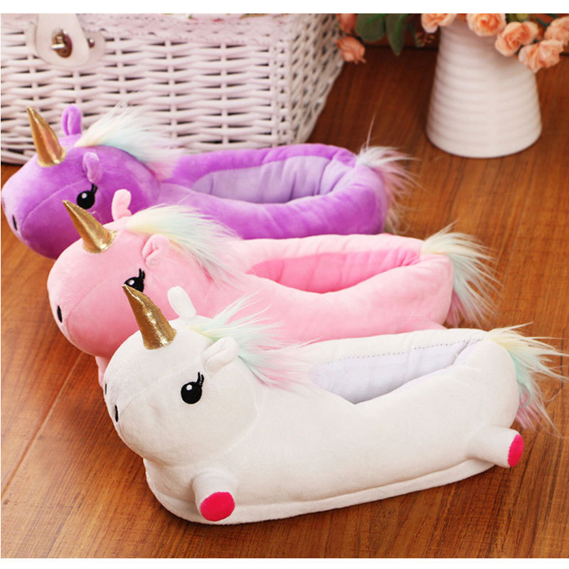 9f32cc294fd Unicorn Slippers Kids Winter Warm Plush Baby Boy Girls Slippers New Cotton  Children Home Shoes With Closed Heel-in Slippers from Mother   Kids on ...