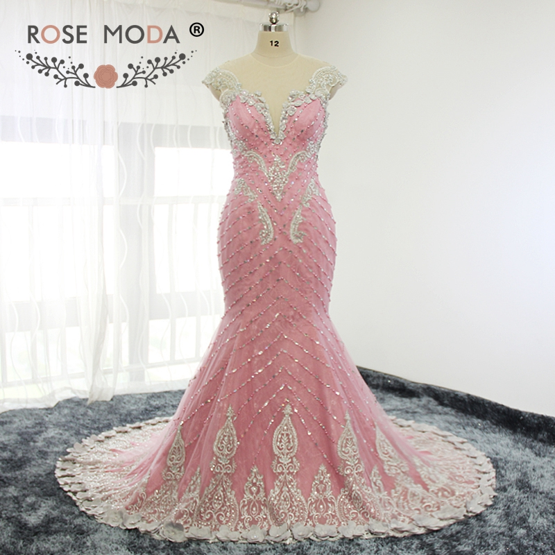 Rose Moda Pink Lace   Evening     Dress   Crystal Mermaid   Evening     Dresses   with 3D Flowers Formal Party   Dress   2019