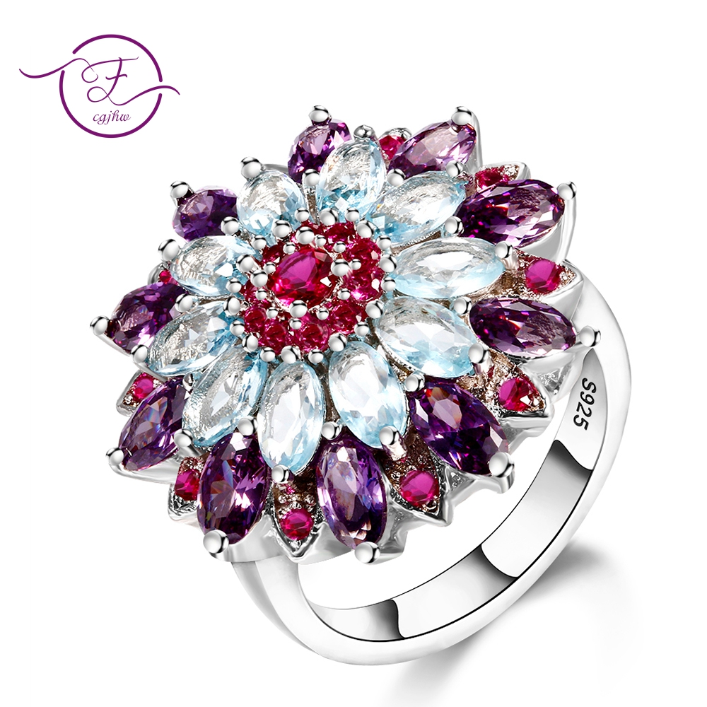 Fashion Flower Rings For Women Purple Blue Spinel Gemstone Ring 925 Sterling Silver Jewelry Party Anniversary Gift Wholesale