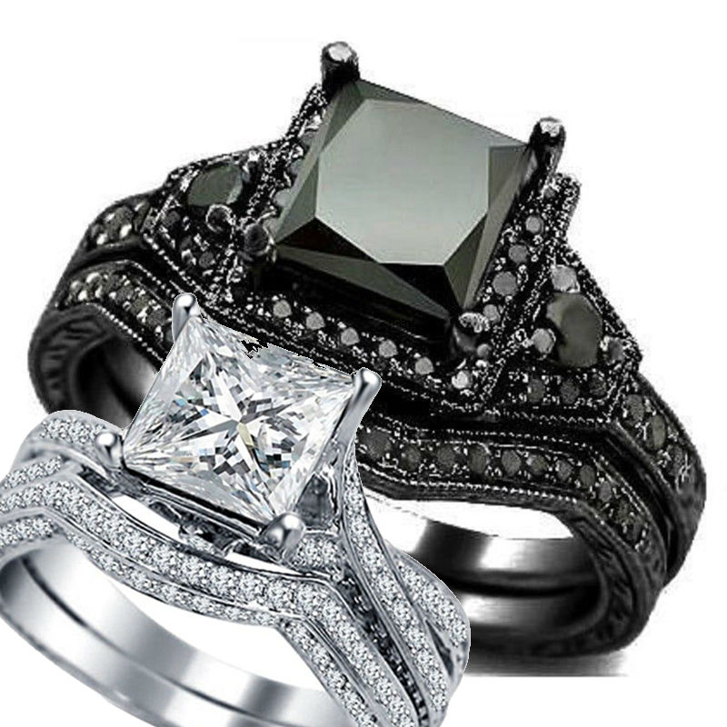 SZ 5-11 All Black Rhodium Wedding Ring Band Set Engagement Princess Cut Bridal