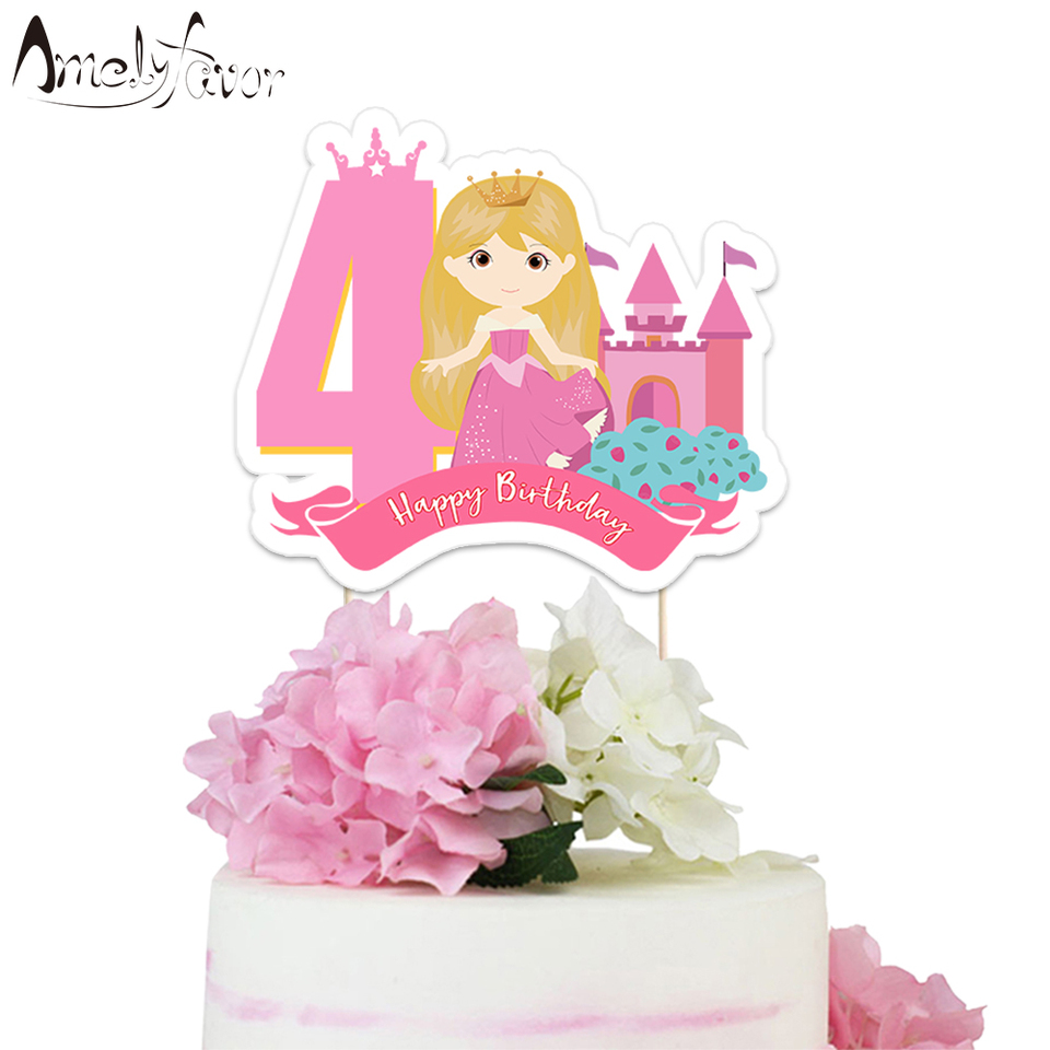 Marvelous Sleeping Beauty Birthday Cake Topper Princess Theme Paper Cake Funny Birthday Cards Online Elaedamsfinfo