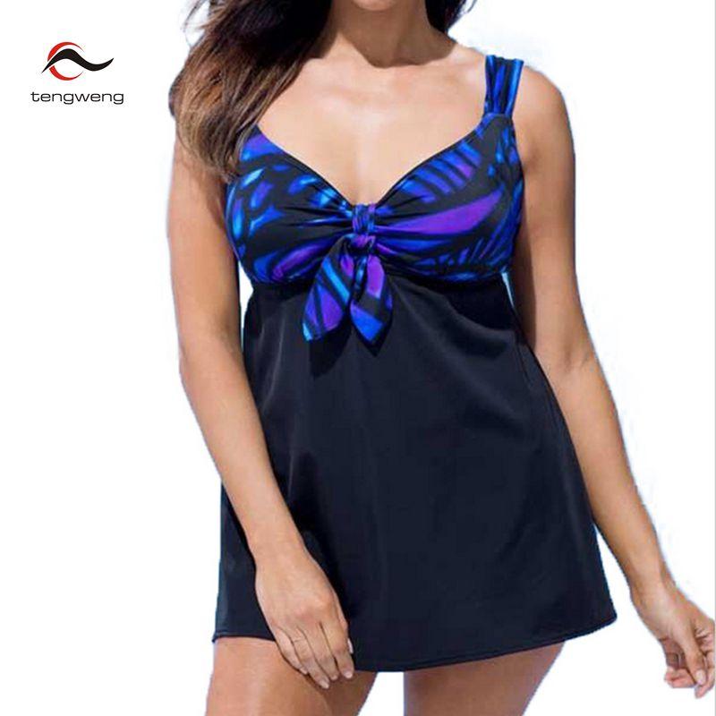 2017 New Women 2pcs Floral Print Tankini Plus Size Swimsuit Push Up Swimdress Swimwear BathingSuit Skirt Brazilian Beachwear 5XL