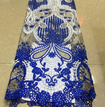 High quality Embroidered African tulle Laces Fabrics With Stones French Lace Fabric Guipure Laces Fabric For Wedding ML7969
