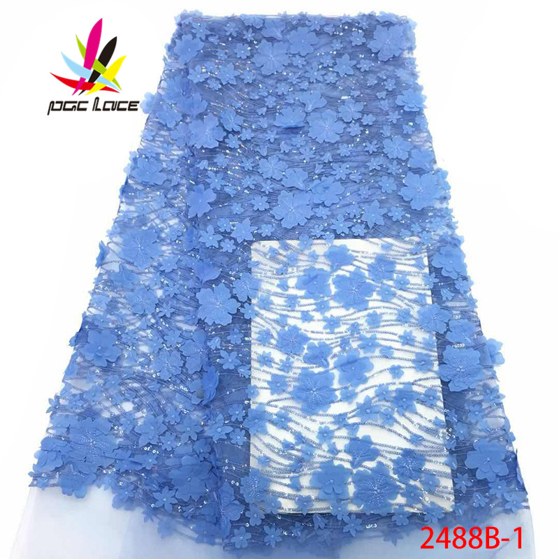 Luxury Blue African Lace Fabric High Quality French Guipure Lace Fabric 2019 New Arrival Sequins Lace