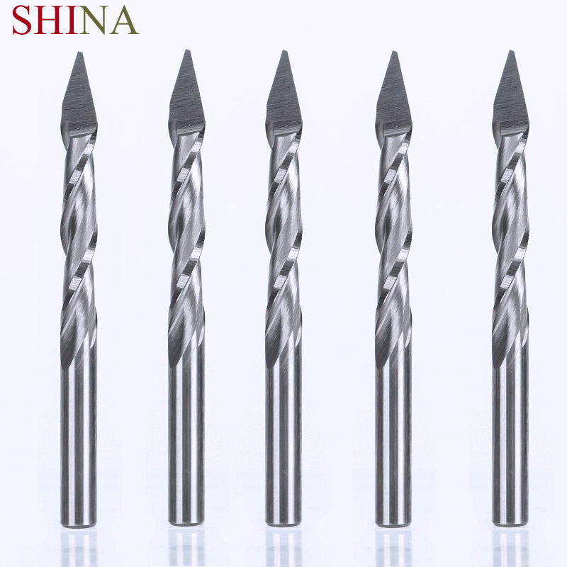 5pcs 30 Degree 0.1 mm Double Two 2 Flute Spiral Endmill Carbide Pyramid Engraving Router Bit Milling Cutter Carving knife 3 175 12 0 5 40l one flute spiral taper cutter cnc engraving tools one flute spiral bit taper bits