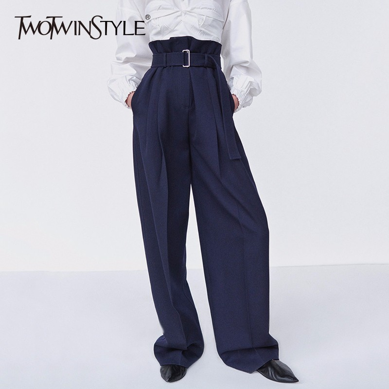 TWOTWINSTYLE Sashes Trousers Female High Waist Ruched Oversize Long   Wide     Leg     Pants   Ladies 2018 Spring Fashion OL Clothing