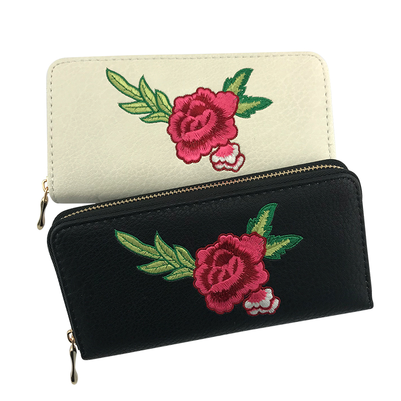 BELLO TUTTI Women Wallets Fashion Lady Embroidery Flower Long Purse Money Bag Zipper Coin Purse Cards ID Holder Clutch Wallet