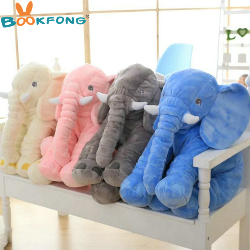 BOOKFONG 60cm New Style Colorful Elephant Plush Toys Elephant pillow Baby bed Cushion stuffed animals doll hot sale cute dolls 60cm oblong animals pillow panda stuffed nanoparticle elephant plush toys rabbit cushion birthday gift