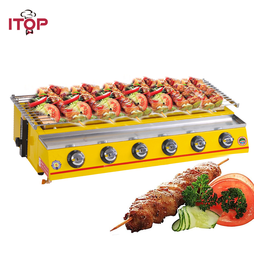 ITOP 6 Burners LPG Gas BBQ Grills Non-stick BBQ Griddle Baking Machine Outdoor Barbecue Tools For Camping Picnic