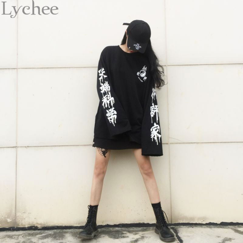 Lychee Harajuku Punk Gothic Women Streetwear Cutting Edge Science Letter Print Pullover Long Sleeve Tracksuit