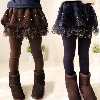 New Winter Girls Thick Leggings Lace Skirt Legging For Kids Cotton Children Pants Baby Tutu Pants Toddler Warm Trousers 1