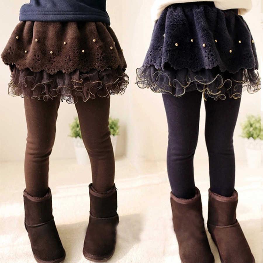 חדש חורף בנות עבה חותלות תחרה חצאית צועד לילדים כותנה ילדי מכנסיים תינוק טוטו מכנסיים פעוט חם מכנסיים