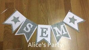 Image 1 - Новый изготовленный на заказ Серый белый флажок с именем звезды для мальчиков для будущей мамы украшение для дня рождения Детская гирлянда реквизит для фото