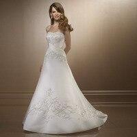 Women wedding dress 2019 new design sexy elegant hand embroidered Bra cheap quality silk satin lace wedding dress