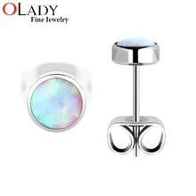 Фотография 2016 New Stud Earrings [ 100% Titanium G23 ] Opal For Girls Anti-allergic Earrings Fashion Jewelry