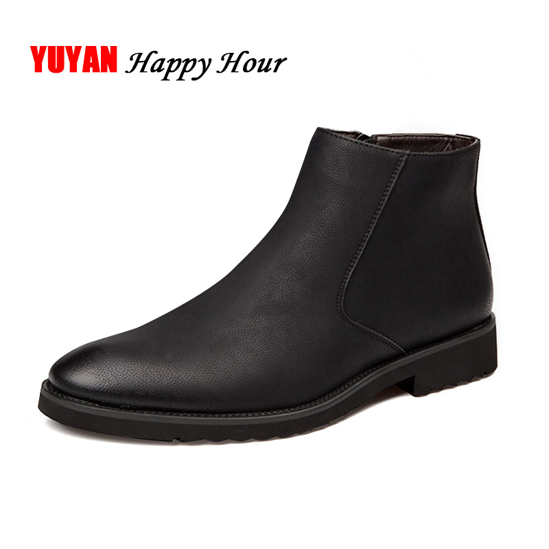 Fashion Chelsea Boots Men Soft Leather Ankle Boots British Style Men's Boots Brand Footwear Black A235