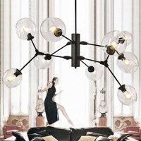 O envio gratuito de New Modern Lustres Lojas Home Decorativa Suspensão Lustre de Vidro Lustre E27 Ouro Negro 110-240 v