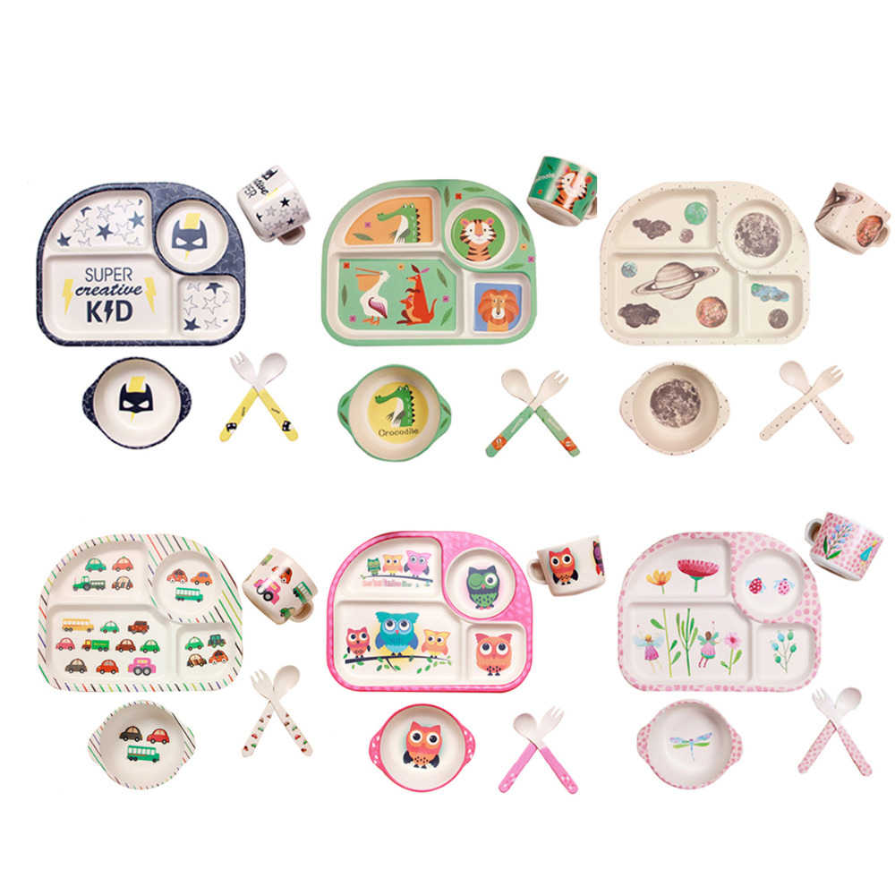 Baby Dining Tableware Set Bamboo Dishes Children Bowl Food Storage Fork Spoon Cup Set Dinnerware For Kids Training Plate