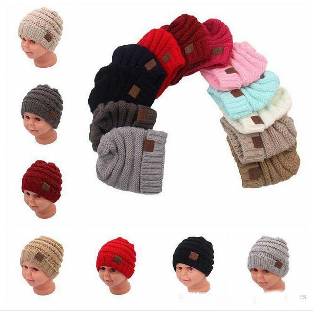 1b978359a6e 2017 Mommy and Me Cable Knitted Winter Ribbed Slouchy CC Beanie Hats  Children's Baby Girl Bonnet