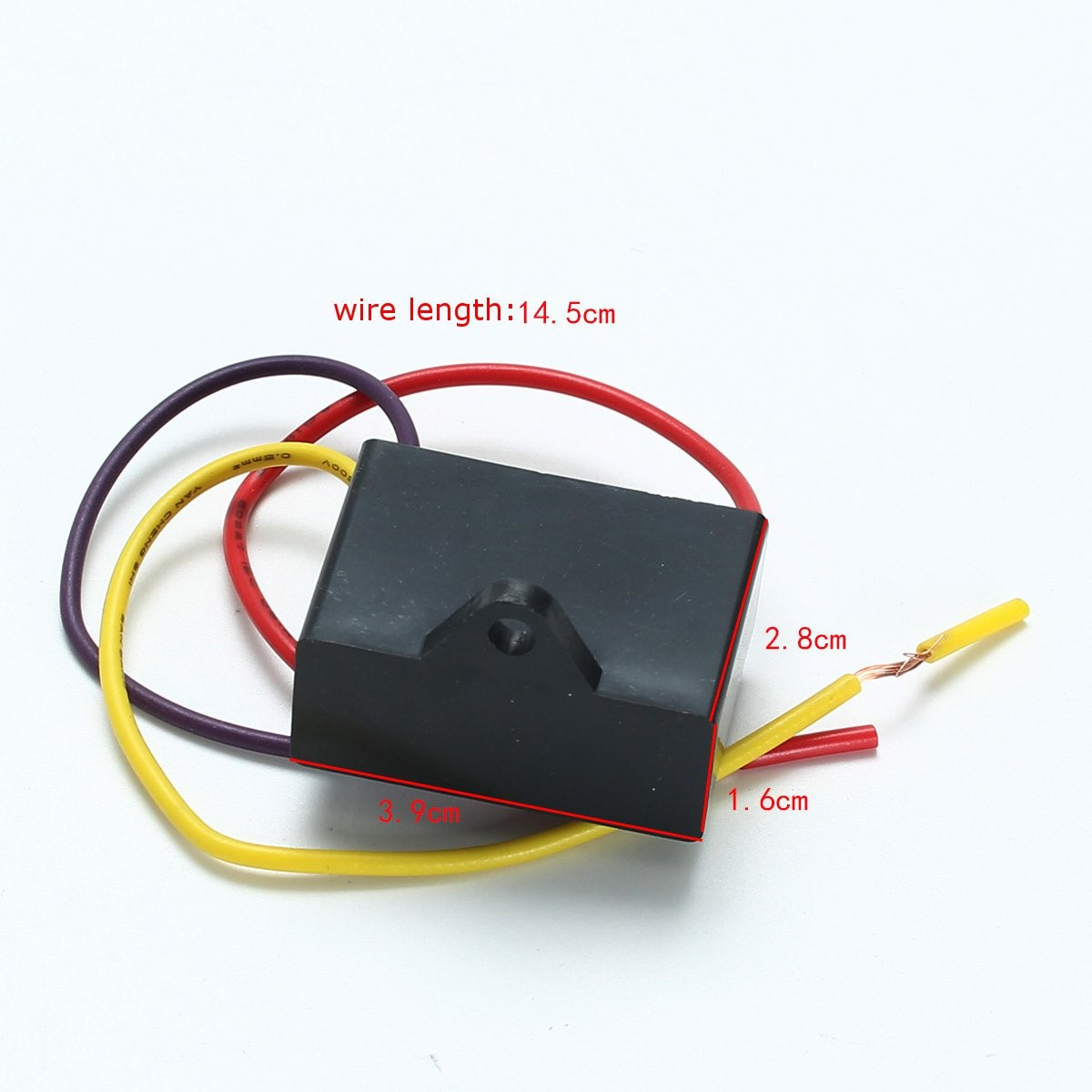 1pc Black Fan Capacitor CBB61 1.5uF+2.5uF 3 Wires AC 250V 50/60Hz ...
