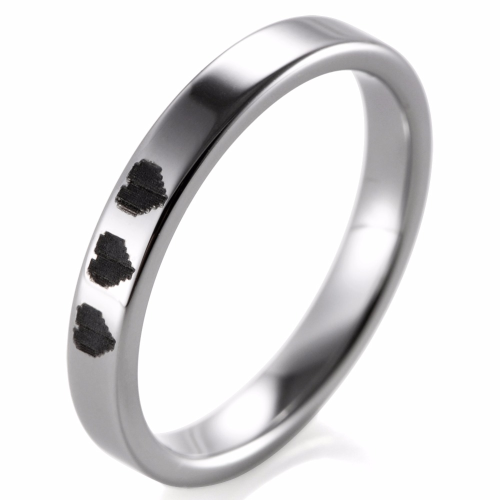 fb87093c00 SHARDON 3MM Tungsten Pipe Cut Ring With 8 Bit Hearts Design- Legend Of  Zelda Game Promise Wedding Band for Women