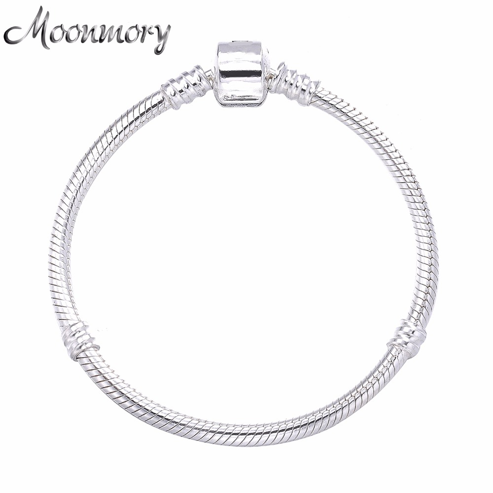 Moonmory 2017 European Popular Jewelry 925 Sterling Silver Snake Chain Bracelet With Clasp Fits For DIY Beads Snake Bracelet slovecabin europe classic 925 sterling silver snake charm necklace with clasp for men 2017 popular silver snake chain necklace