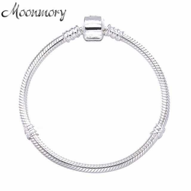 Moonmory 2017 European Por Jewelry 925 Sterling Silver Snake Chain Bracelet With Clasp Fits For Diy