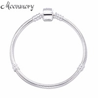 Moonmory 2017 European Popular Jewelry 925 Sterling Silver Snake Chain Bracelet With Clasp Fits For DIY Beads Snake Bracelet