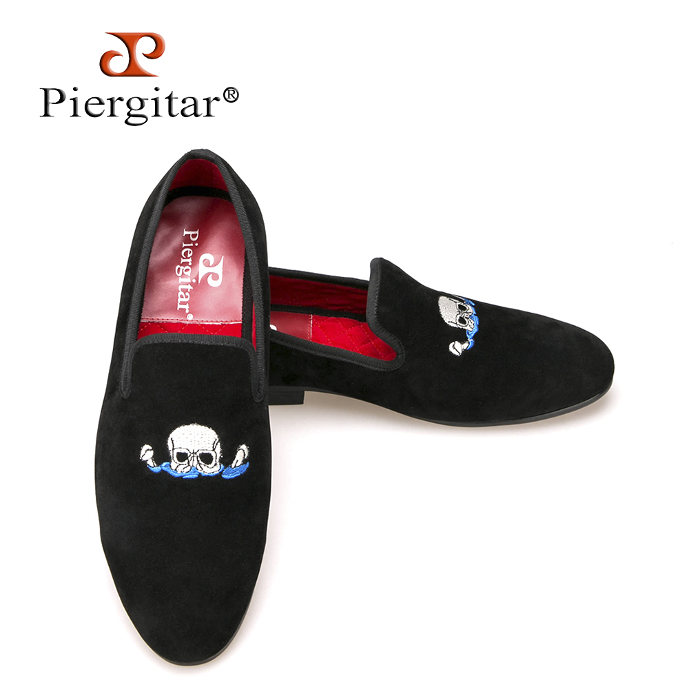 Piergitar Handmade Black Men Velvet Shoes Skull embroidery Loafers Smoking Slippers Men's Flats Size US 4-17 Free shipping a three dimensional embroidery of flowers trees and fruits chinese embroidery handmade art design book