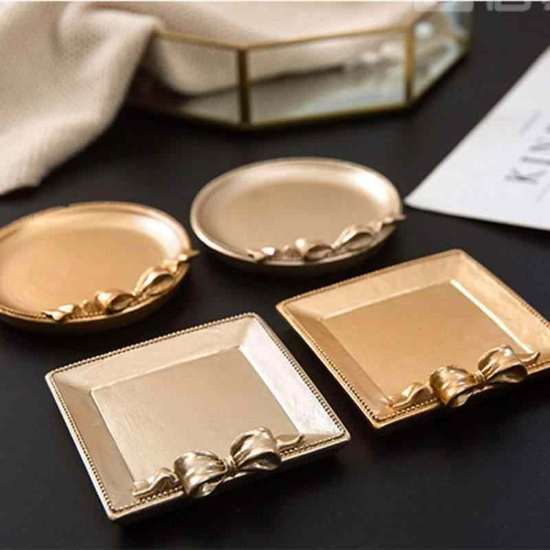 Decorative Golden Jewelry Tray Bedroom Living Room Decoration Necklace Jewelry Fruit Plate Crafts Trinket Tray Organizer