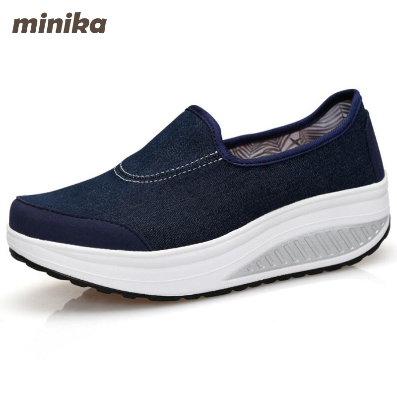 Minika Canvas Women Shoes Casual Slip On Women Moccasin Fashion Wedges Women Flats Platform Shoes 3e44 minika women shoes summer flats breathable lace loafers platform wedges lose weight creepers platform slip on shoes woman cd41