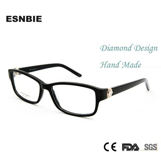 ESNBIE Haute Qualité De Luxe Strass Montures de lunettes Rétro Lunettes  Femmes Optique Cadre Femmes Carré ce683dafeb43